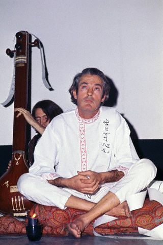 Timothy Leary meditating at the Village Gate Theatre