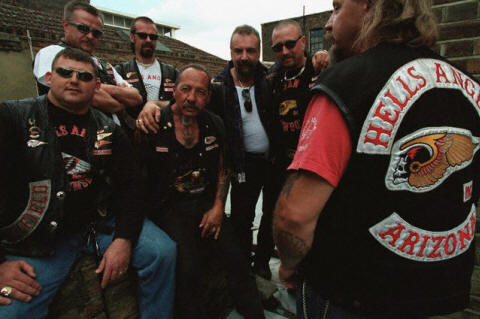 Sonny Barger, patriarch of the Hell's Angels, with some of his biker buddies
